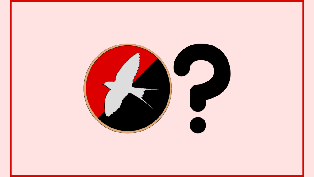 The Harmony Party logo (a white swallow soaring above a red/black diagonally bisected circular flag with a rim of buff yellow) is central, with a large black question mark next to it. The background is rose white with a red border.